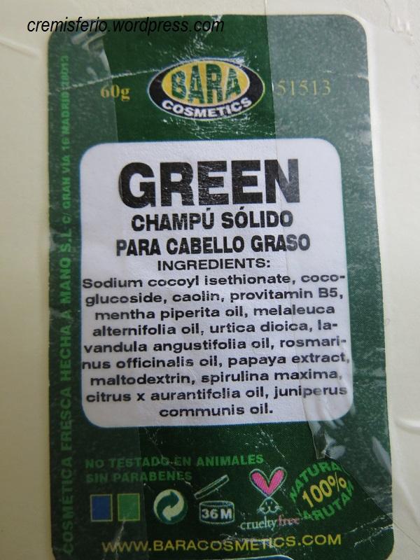 BARA COSMETICS Champú sólido Green 3
