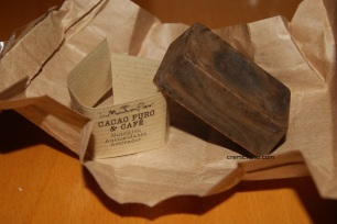 Lingote jabón de cacao y café (detalle)