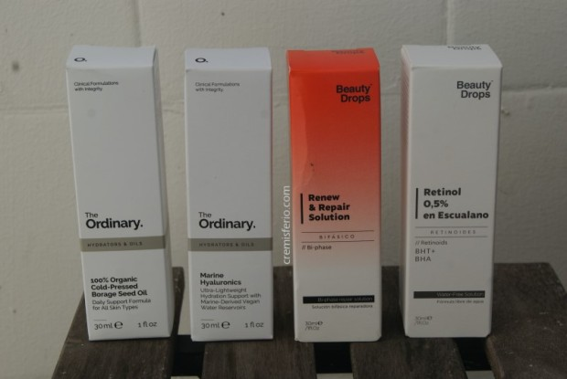 HAUL Primor - Marzo 2019 - The Ordinary aceite borraja, The Ordinary marine hyaluronics, Beauty Drops tratamiento bifásico, Beauty Drops retinol 0,5 en escualano